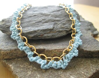 crocheted necklace with cotton thread, light blue, chain-gold plated brass, gold and blue necklace, women gift, summer sale