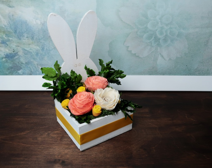 Floral arrangement Easter bunny yellow orange sola flowers decoration Natural preserved greenery home decor wooden bunny spring flowers