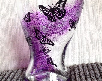1 Butterfly Vase / Hand Painted Vase /  Pink / Vase / Glass Art / Purple / Butterflies