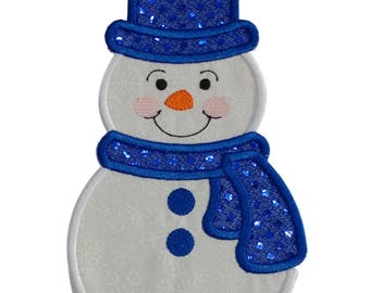 Snowman with bright blue sequin hat and scarf Holiday machine embroidered fabric iron on no sew patch, holiday patch for kids clothing