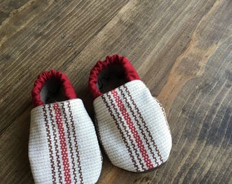 crib shoes, soft baby shoes, baby boy shoes, tan, red and brown baby shoes, 0-3m, baby shower gift