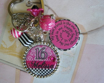 Personalized Sweet 16 Keychain, Friendship, Moms, ..