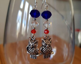 Red White and Blue Owl Drop Earrings