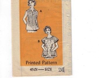 1980s Vintage Sewing Pattern Mail Order 4501 Misses Sleeveless Top and Smock Peasant Size 20 Bust 42 Plus Size 1980s 80s  99