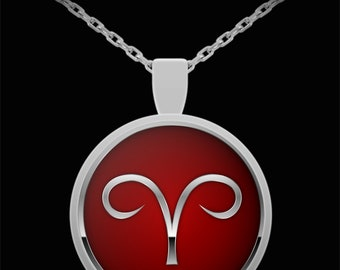 Birthday Gift for Aries Sign, Aries Glyph Zodiac Astrology Silver Pendant 22 in Chain Gift