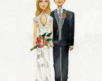 Custom wedding illustration, wedding gift, Custom watercolor, Portrait, Custom Couple Portrait,  illustration , Drawing, Wall art.