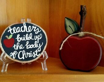 Birch Wood Slice Sign, Teacher Gifts, Teacher Wood Sign, Ephesians 4 Wall Art, Bible Study Gift, Pastor Gift, Body of Christ, Wood Slice Art