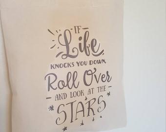 If Life Knocks you down Cotton Tote Bag