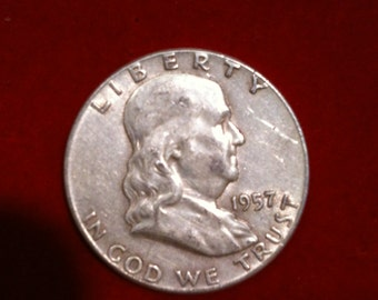 "Vintage Silver Coin Half Dollar ""1957"" Liberty United States Of America,( 6 Coins Available)"