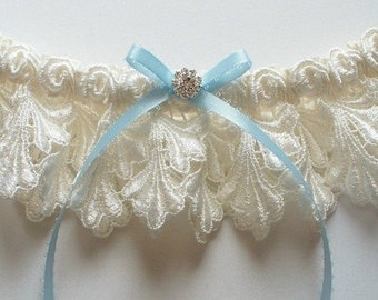 Ivory Garter with Light Blue Picot-Edge Ribbon Bow and Swarovski Crystal Finding - The Petite JILLIAN Garter