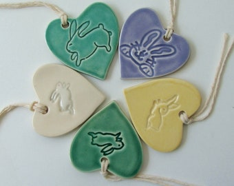 Set of Five ceramic Easter ornament /gift tags,