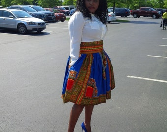 High Waisted Dashiki skirt plus size( sizes 14 to 24)