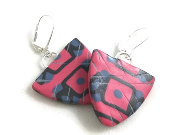 Pink and gray light weight triangle dangle earrings triangles