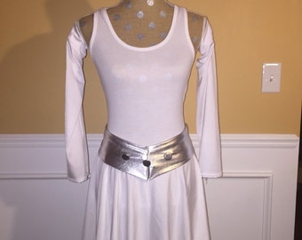 Princess White Inspired Running costume Performance fabric outfit skirt/tank top/Arm sleeves/Belt