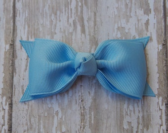 Light Blue Tuxedo Style Toddler Hair Bow 3 Inch Alligator Clip Baby Hairbow Blue Toddler Bow Blue 3 Inch Baby Bow
