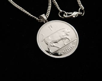 IRELAND - 1 Shilling BULL Antique - Necklace (Lady's or Man's), Money Clip, or Key Ring.  For lovers of Ireland and Shiny Bulls, Maybe YOU!