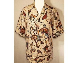 Mens shirt, Short sleeve shirt, Button down shirt, Casual shirt, Collar shirt, Australian, Ethnic, Tribal, Resort, Native, Colorful Rustic