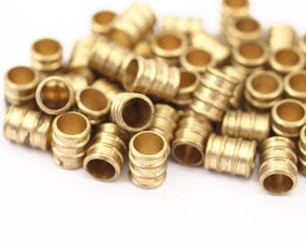 25 Pcs Raw Brass Industrial Findings, Spacer Beads (10 X 8 Mm) D158