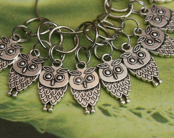 10 Knitting stitch marker rings Parliament of Owls