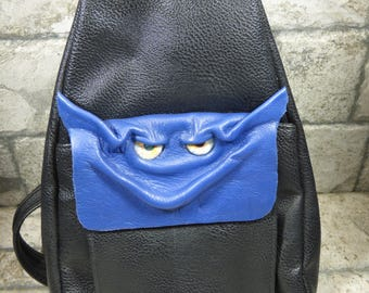 Leather Backpack Purse With Face Monster Harry Potter Labyrinth Goth Blue Black 387