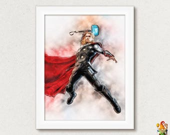 Thor Print Digital Poster Download Thor Super Hero Thor Movie Thor Watercolor Illustration Printable Wall Decor Kid Rooms Instant Download
