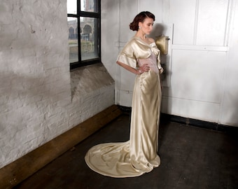 Silk satin and bamboo art-nouveau wedding dress, bespoke