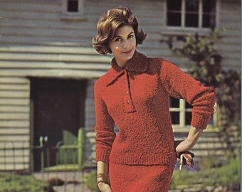 Ruby Red • 1960s Collared Sweater Skirt Suit Pattern • 60s Vintage Knitting Patterns • Bulky Boucle Yarn Retro Knit PDF