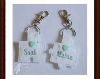 ITH In The Hoop Soul Mates Jigsaw Key Fob Machine Embroidery Design Pattern 4x4 Hoop by Titania Creations