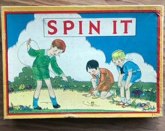 Vintage Milton Bradley Co. Spin It Game with Chharming Graphics