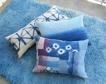 Indigo Linen Pillow Denim Sky Blue minimalistic hand dyed Grainsack Cushion two tone Bleu Pastel Sand hand dyed 40x60 cm 16x24 inches