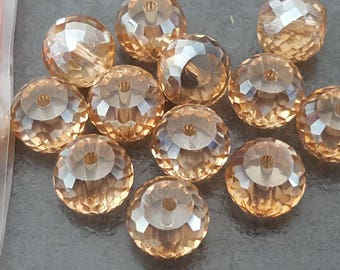 2 perles en cristal à facettes champagne AB 10 mm , perles a facettes