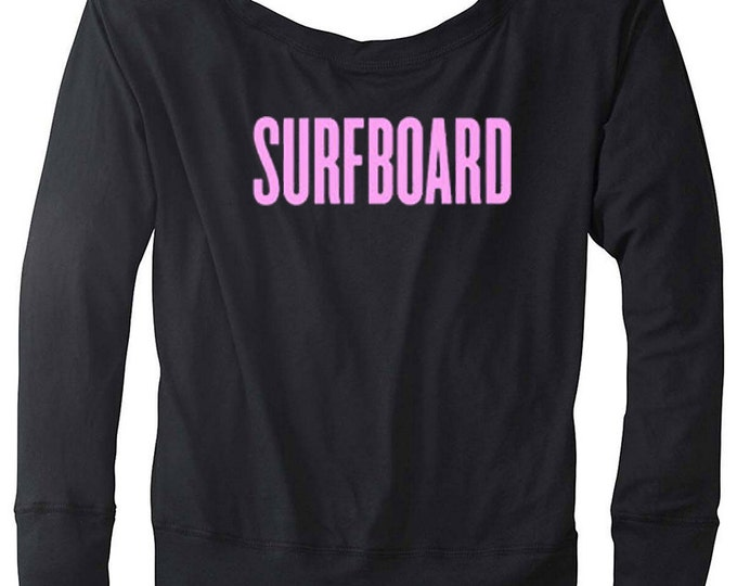 Surfboard Ladies Flowy Long Sleeve Off Shoulder Tee