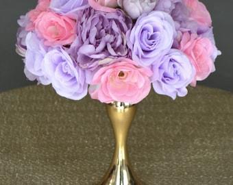 Lavender & Pink Rose Arrangement With Lilac Peonies. Half Flower Ball Pomander. Wedding Peony Centerpiece. Floating Pomander Bouquet.