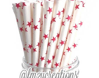 Paper Straws--25 RED Paper Straws Red STAR Paper Straws Retro: RED Weddings, Birthday Party, Carnival, Baby & Bridal Showers, Diy Flags