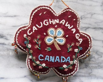Vintage Caughnawaga Beaded Pin Cushion with Tassels.