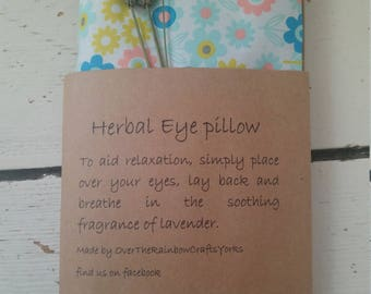 Lavender Eye Pillow, relaxation pampering meditation yoga herbal eye mask