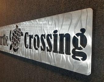 Turtle Crossing Sign - Metal Turtle Xing - Metal Wall Art - No Rust Metal Wall Decor - Turtle Lover - Beach House Decor - Patio Decor