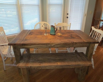 Aged Wooden Farmhouse Dining Table And Bench Combos