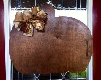 READY TO SHIP Dark Walnut Stained Fall Pumpkin Wood Door Hanger