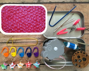 Pink Texture Knitter's Tool Tin - travel notions for knit night!