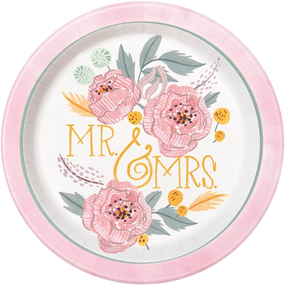 Mr Mrs Plates Paper Plates Anniversary Tableware Party Supplies Bride to Be Wedding Engagement Bridal Engaged Table set up from Thedre&artyShop ...  sc 1 st  Etsy Studio & Mr Mrs Plates Paper Plates Anniversary Tableware Party Supplies ...