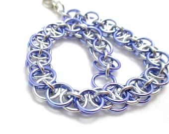Lavender Chain Maille Bracelet - Purple Helm Chainmaille Bracelet - Chain Bracelet