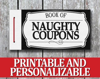 Printable Naughty Coupon Book, Bithday Gift for Man, Last Minute Anniversary Gift for Husband, Printable DIY Erotic Birthday Gift for Him