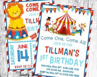 Birthday Invitation, Circus Party Invitation, Customized Circus Invitation, Customized Invitation, Circus Birthday Party Invitation, Circus