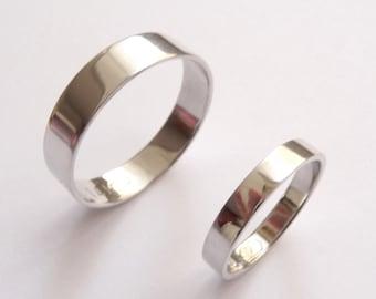 White gold wedding band set women wedding ring men wedding band flat shiny