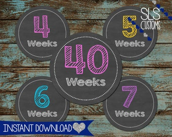 Chalkboard Printable Weekly Bump Stickers! INSTANT DOWNLOAD! 4inch Rounds