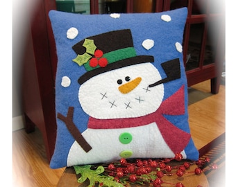 Holly Jolly Snowman Woolfelt Pillow Pattern by Cleo and Me