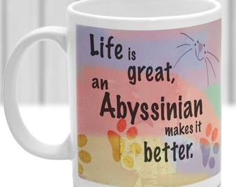 Abyssinian cat mug, Abyssinian cat gift, ideal present for cat lover