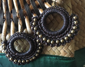 Rockabilly Mexican inspired embroidered hoop earings