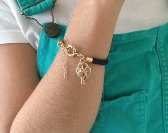 Charm Bracelet, Charm Heart, Black Bracelet, Love Lock Bracelet, Leather Bracelet, Love Heart Pedlock Bracelet, Lock and Key Charm, Charms